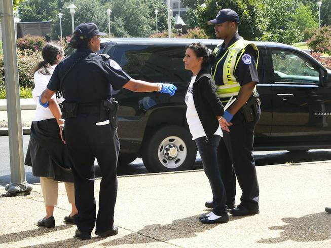 Theresa Navarro, handcuffed, of Progressive Leadership Alliance of Nevada, waits to be processed and loaded into a police van outside the Longworth House Office Building in Washington, D.C., after a pro-immigration reform protest Thursday, July 31, 2013.