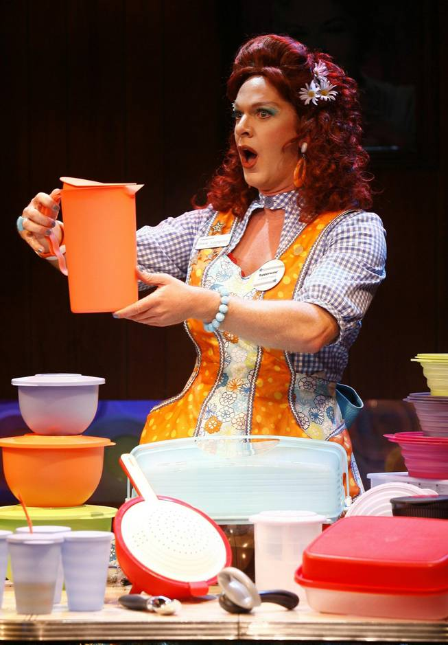 "Dixie Longate in ""Dixie's Tupperware Party,"" written by Kris Andersson and Elizabeth Meriwether, opening May 10, 2013, at off-Broadway's Ars Nova."