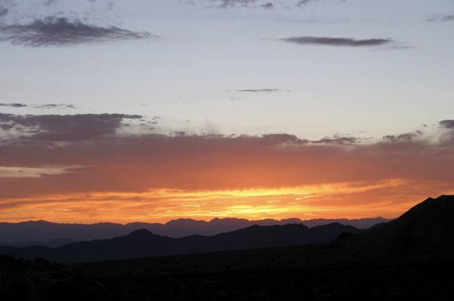 A blazing desert sunset at Gold Butte, a 350,000-acre area east of Las Vegas that is under consideration for national conservation area protection, Aug. 3, 2013.