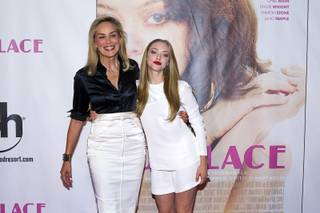 Actresses Sharon Stone, left, and Amanda Seyfried arrive at the Las Vegas premiere of the movie