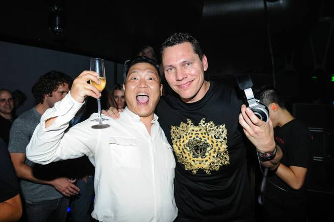 Psy and DJ Tiesto at Hakkasan at MGM Grand on Friday, Aug. 2, 2013.