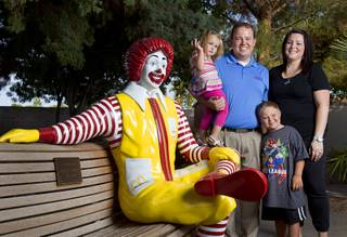 Jeremy Anderson, general manager of Aire Serv, poses with his fiancee, Mical Henderson, and his children Will, 8, and Lucy, 3, at the Ronald McDonald House on Monday, Aug. 5, 2013. The The Ronald McDonald House provides temporary housing for families who travel to Las Vegas to receive critical medical treatment for their children.