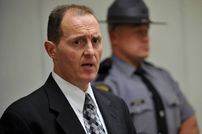 Captain Edward Hoke, Commander of the Pennsylvania State Police Hazleton Barracks speaks at a press conference at the Monroe County Pubic Safety Center on the shooting at the Ross Township Municipal Building that left 3 dead and 3 injured, Monday, Aug. 5, 2013, in Stroudsburg, Pa.
