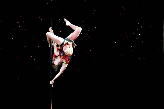 Artist Kerri Friedman performs during the Professional Entertainment Level 4 Senior competition at the 2013 U.S. National Pole Championships at the Tropicana Hotel in Las Vegas Friday night, August 9, 2013.