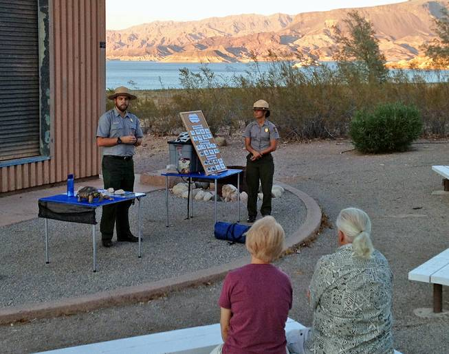Lake Mead National Recreation Area ranger Ben Jurand talks to a group about the declining population of desert tortoises at the Boulder Beach Campground on Friday, Aug. 9, 2013. The desert tortoise has been designated a threatened species with its populations decreasing since 1950.