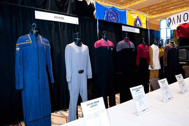 Original costumes worn by actors in the Star Trek series are on display at the Official Star Trek Convention at the Rio in Las Vegas on Saturday, Aug. 10, 2013.