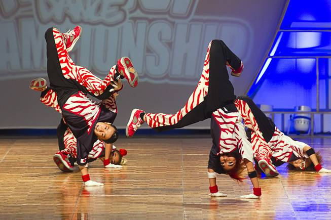 """J.B. Star Jr."" of Japan competes in the junior division during the World Hip Hop Championships at the Orleans Arena Sunday, Aug. 11, 2013. Teams from 43 countries competed in the event."
