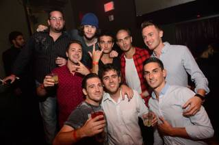 Jay McGuiness, Tom Parker and Max George of The Wanted (the three of them are in the center rear) and friends at Tao in the Venetian on Saturday, Aug. 10, 2013.