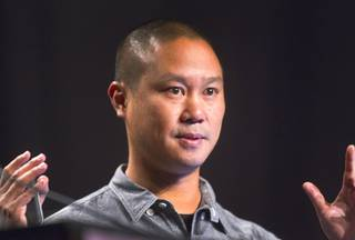 Tony Hsieh, CEO of Zappos, gives a keynote address at the South By Southwest V2V tech conference for entrepreneurs at the Cosmopolitan Monday, Aug. 12, 2013.