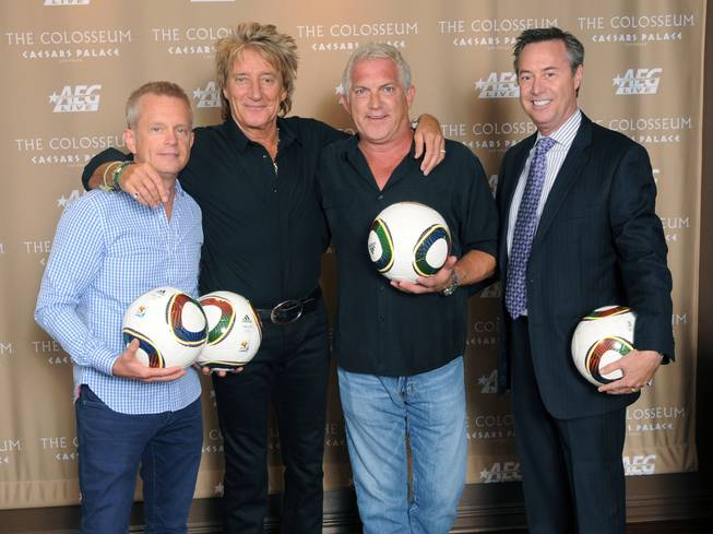 John Nelson, Rod Stewart, John Meglen and H.C. Rowe at the Colosseum in Caesars Palace.