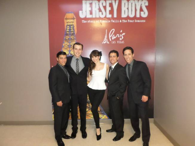 "Claire Sinclair is flanked by ""Jersey Boys"" stars Deven May, Rob Marnell, Graham Fenton and Jeff Leibow at Paris Las Vegas."