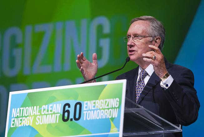 Senate Majority Leader Harry Reid (D-NV) gives opening remarks during the National Clean Energy Summit 6.0 at the Mandalay Bay Tuesday, Aug. 13, 2013.