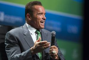 Actor and former California Gov. Arnold Schwarzenegger speaks during the National Clean Energy Summit 6.0 on Tuesday, Aug. 13, 2013, at Mandalay Bay.