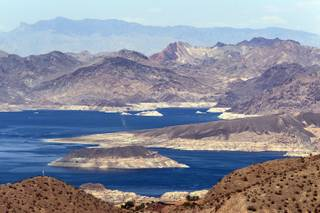 Lake Mead National Recreation Area seen from Boulder City on Tuesday, August 13, 2013.
