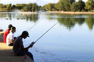 Teenagers fish at Sunset Park in Las Vegas on Tuesday, August 13, 2013.