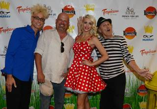 Murray Sawchuck, Rick Harrison, Chloe Crawford and Gallagher arrive at the Friends for Life Humane Society benefit at Tropicana on Wednesday, Aug. 14, 2013.