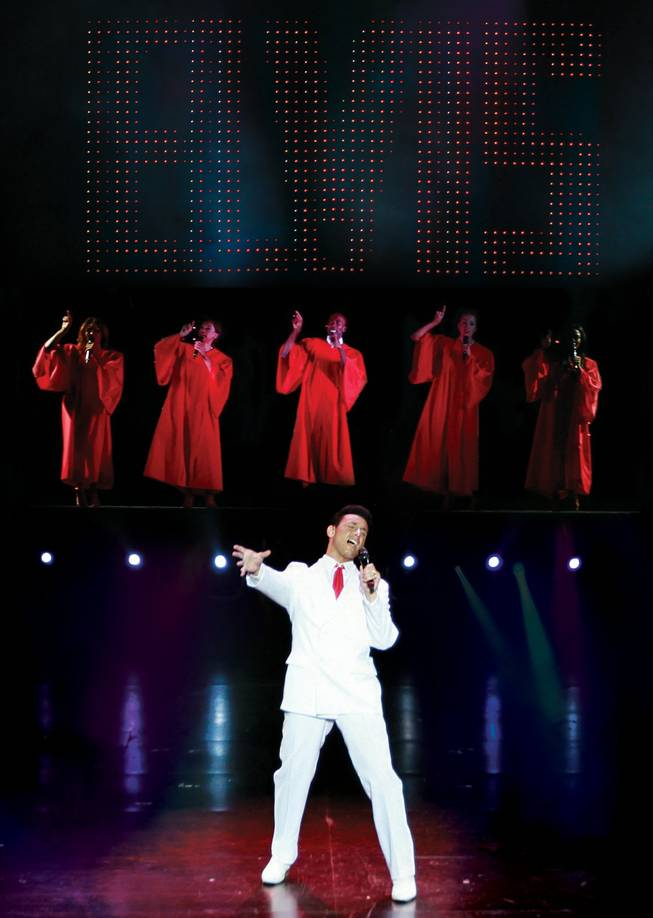 "Lou Gazzara portrays Elvis in ""Vegas! The Show"" at V Theater at Miracle Mile Shops at Planet Hollywood."