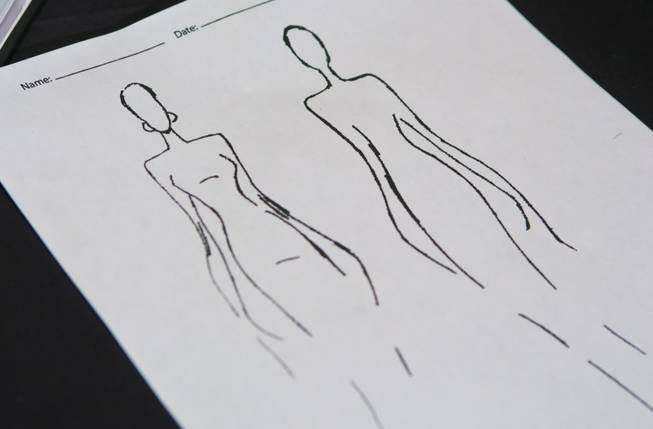 A sketch, one of the beginning steps in creating an extravagant Dore ballroom gowns, Thursday Aug. 16, 2013. Dore's exquisite gowns are on display at the 2013 Nevada Star Ball dance championship at Green Valley Ranch Resort, Spa & Casino.