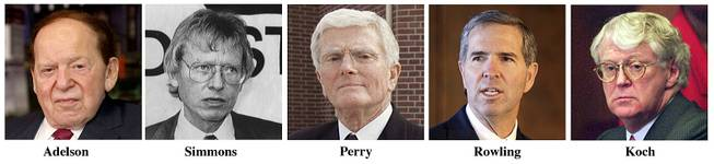 This combo image of file photos shows biggest Republican presidential campaign donors, from left, Sheldon Adelson, owner of the Las Vegas Sands casino empire; Harold Simmons, owner of Contran Corp.; Bob J. Perry, head of a Houston real estate empire; Robert T. Rowling, head of Dallas-based TRT Holdings; and William Koch, an industrialist.
