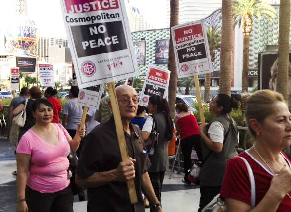Culinary Union protest continue outside the Cosmopolitan, Friday, Aug. 16, 2013.