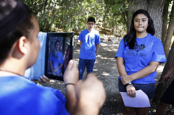 Amanda Arteaga, 14, and fellow campers film a public service announcement about bullying at Camp Heart and Sole at Torino Ranch in Lovell Canyon on Saturday, August 17, 2013.