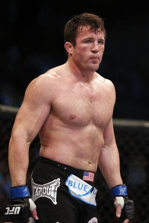 Chael Sonnen  looks on after his win against Mauricio 'Shogun' Rua, of Brazil, in their UFC on Fox Sports 1 mixed martial arts light heavyweight bout in Boston, Saturday, Aug. 17,2013.  Sonnen won via first-round tapout via guillotine choke. (AP Photo/Gregory Payan)