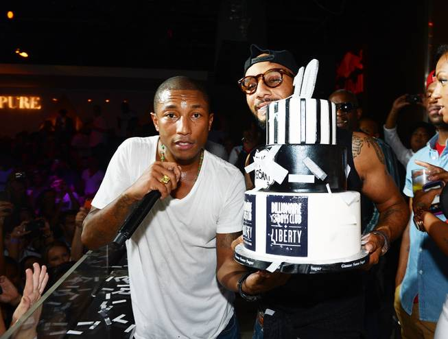 Pharrell Williams and Swizz Beatz celebrate at Pure in Caesars ...