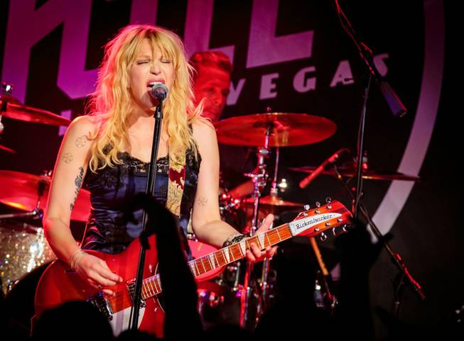 Courtney Love performs for Vinyl's first anniversary in the Hard Rock Hotel Las Vegas on Thursday, Aug. 22, 2013.