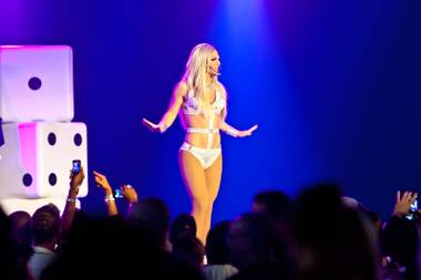 Derrick Barry as Britney Spears performs during the 27th Annual Aid for AIDS of Nevada Black & White Party at the Joint in the Hard Rock Hotel in Las Vegas Saturday night, August 24, 2013.
