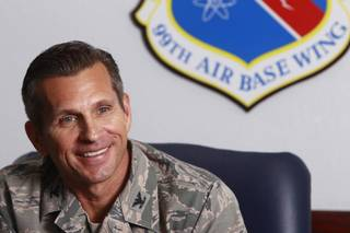 Colonel Barry Cornish, commander of the 99th Air Base Wing, smiles during a interview at Nellis Air Force Base Monday, Aug. 26, 2013.