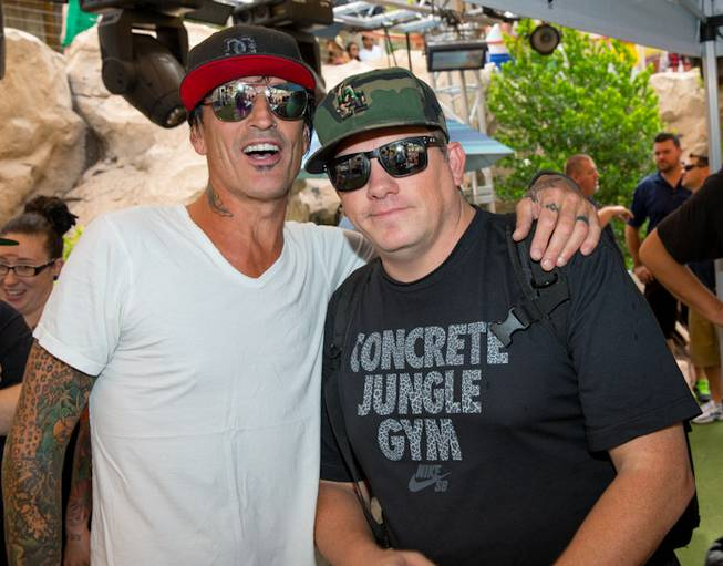 Tommy Lee DJs with DJ Aero at Rehab in the ...