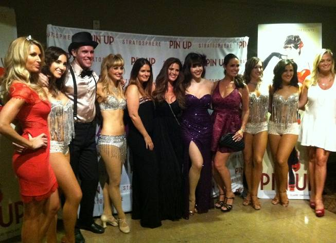 "Claire Sinclair, fifth from right, and her Playboy Playmate friends at her show ""Pin Up"" at the Stratosphere."