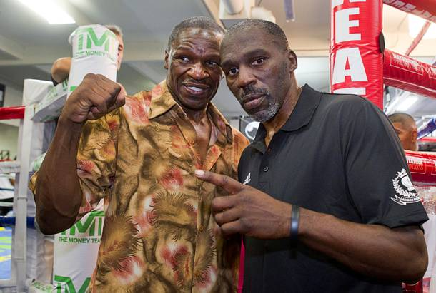 Floyd Mayweather Sr., left, and Roger Mayweather pose at the Mayweather Boxing Club Wednesday, August 28, 2013. Undefeated boxer Floyd Mayweather Jr. will face Canelo Alvarez of Mexico in a WBC/WBA 154-pound title fight at the MGM Grand Garden Arena on September 14.