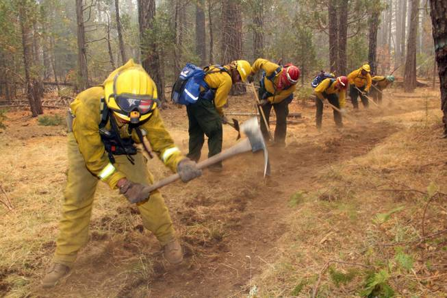 A fire crew digs a fire line near Yosemite National Park in this photo made on Sunday, Aug. 25, 2013, and released by the US Forest Service on Tuesday. Firefighters continue to battle the Rim Fire, which has ravaged 282 square miles by Tuesday, the biggest in the Sierra's recorded history.