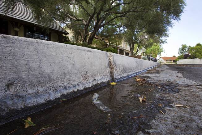 Water flows down the street from a home near Rancho Dr. and Oakey Blvd. Thursday, August 29, 2013. The lawn sprinklers were running at a prohibited time (between 11 a.m. and 7 p.m.) and overwatering so that water flowed into the gutter.