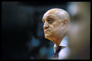 UNLV coach Jerry Tarkanian coaches his final game at the Rebels head coach at UNLV, a 65-53 win over Utah State March 3, 1992.