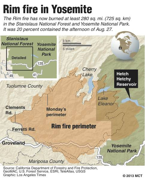 Yosemite Rim Fire Map
