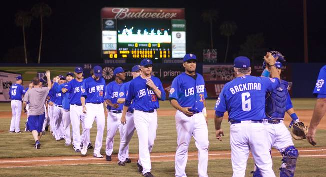 The  51s make their way off the field after claiming the Pacific Coast League Southern Division title beating Tuscan 8-6, Saturday, Aug. 31, 2013.