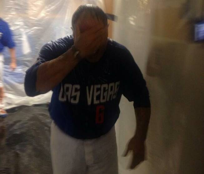 Las Vegas 51s manager Wally Backman celebrates the team's Pacific Coast League Pacific Southern title with a Champagne shower.