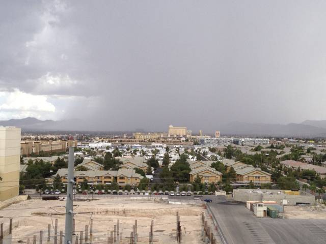 Thunderstorms, seen looking south from Las Vegas Boulevard and Shelbourne Avenue, roll through the Las Vegas Valley on Saturday, Aug. 31, 2013, prompting a flash flood warning until 3:45 p.m.