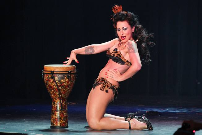 Angie Pontani performs during a benefit show in honor of burlesque pioneer Dixie Evans on Saturday, Aug. 31, 2013, at the Plaza.