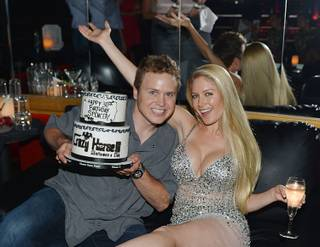 Spencer Pratt and Heidi Montag celebrate Pratt's 30th birthday at Crazy Horse III Gentlemen's Club in Las Vegas on Saturday, Aug. 31, 2013.