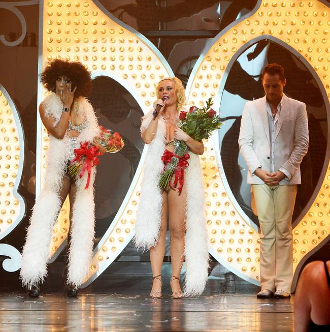 Cheaza, Coco Austin and Josh Strickland after the final performance ...