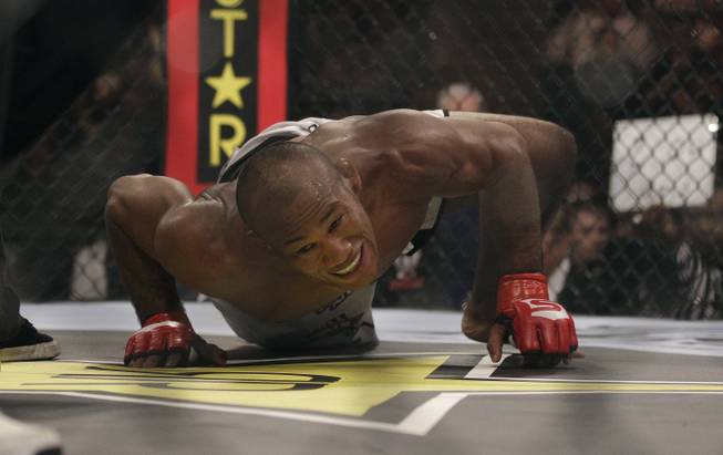 "Ronaldo ""Jacare"" Souza, from Brazil, celebrates after beating Robbie Lawler during a Strikeforce Middleweight Championship mixed martial arts fight in San Jose Calif., Saturday, Jan. 29, 2011"
