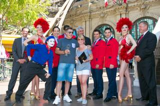 Martin Layton and his fiancee Sarah, who are to be married Friday, Sept. 6, 2013, are treated to a surprise when Martin purchased the 10 millionth ticket to the Eiffel Tower Experience at Paris Las Vegas on Thursday Sept. 5, 2013. The couple enjoyed a serenade by Taylor Hicks and the cast of