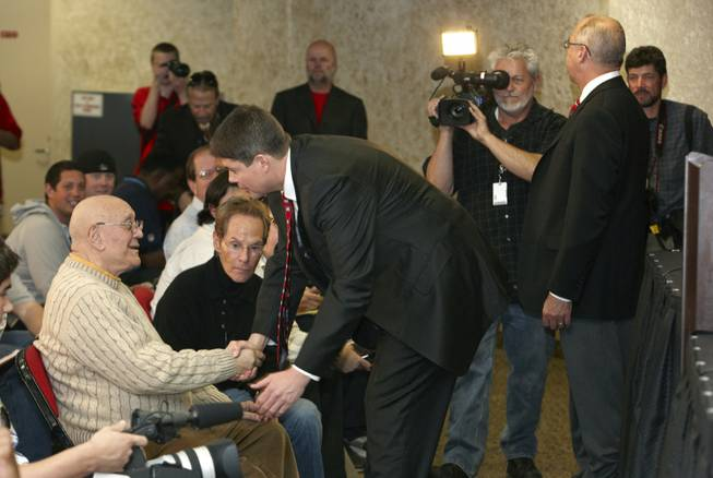 Jerry Tarkanian, left, and Dave Rice, right, during a media conference and welcome reception for Rice, the newly named UNLV Runnin' Rebels head basketball coach on April 11, 2011.
