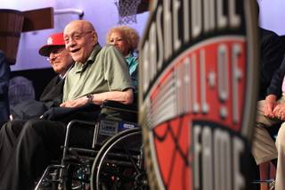 Former UNLV coach Jerry Tarkanian and other inductees take part in a news conference before their induction into the Naismith Memorial Basketball Hall of Fame Saturday, Sept. 7, 2013 in Springfield, Mass.