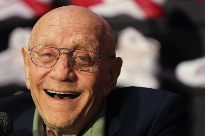 Former UNLV coach Jerry Tarkanian smiles during a news conference before his induction into the Naismith Memorial Basketball Hall of Fame Saturday, Sept. 7, 2013 in Springfield, Mass.