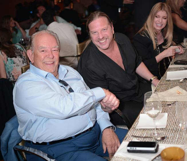 Robin Leach, left, with Michael Boychuck, celebrates his birthday at ...