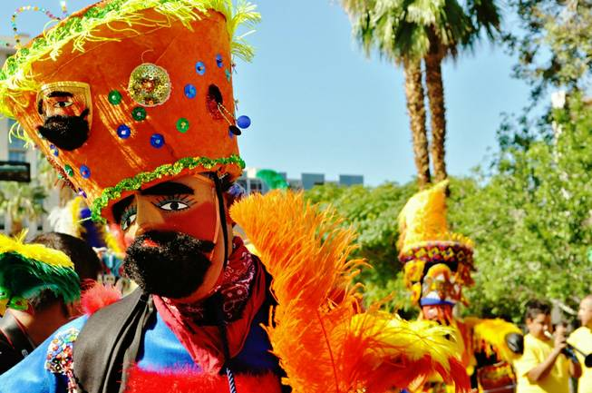 A matachin dancer performs during the Fiesta Las Vegas parade Sept. 15, 2012.